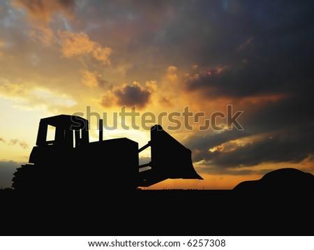 Heavy bulldozer over orange background - stock photo