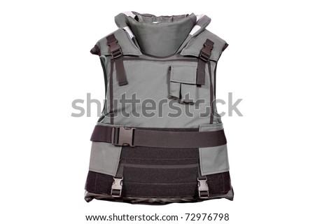 heavy bulletproof vest isolated - stock photo