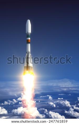 Heavy Carrier Rocket Launch. 3D Scene. - stock photo
