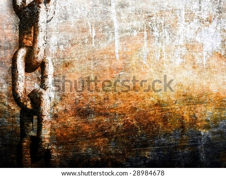 heavy chain on grunge metal background - stock photo