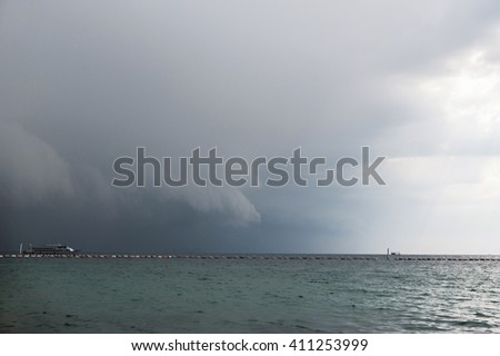 heavy clouds above beach before the storm Thailand Koh LARN