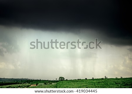 Heavy cloudy and rain storm on the mountain