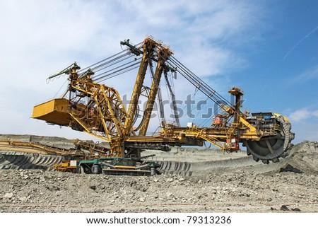 heavy coal excavator in brown coal  mine - stock photo