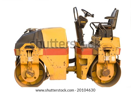 Heavy construction machine yellow roller against white background