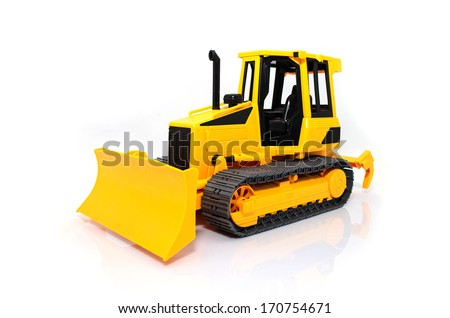 Heavy crawler toy bulldozer isolated on a white background