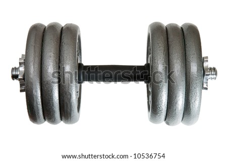 Heavy duty adjustable dumbbell with 6x10lbs plates - stock photo