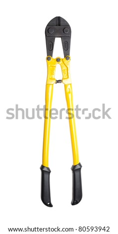Heavy duty bolt cutters isolated on a pure white background. The markings on the tool are specifications only. No visible brand names, copyright, logo or trademarks. - stock photo