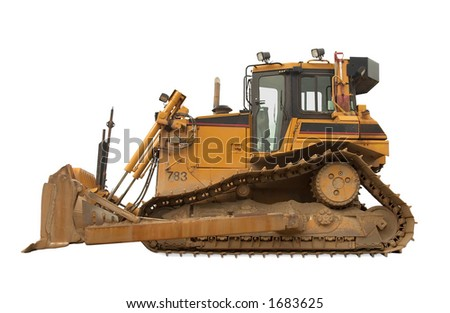 Heavy duty bulldozer - Isolated 20 000 kg/45 000 lb  at work - stock photo
