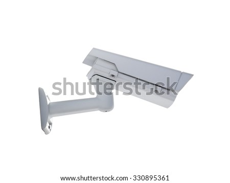 Heavy duty exterior surveillance camera back view isolated on white background - stock photo