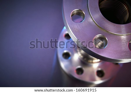 Heavy Duty High Pressure Hose on Stainless Steel Background Close Up - stock photo