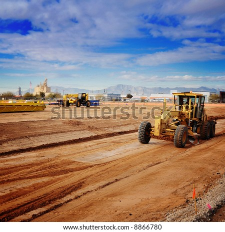 Heavy duty machinery in industrial zone. - stock photo