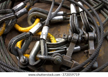 stock photo heavy duty steel wire rope sling with safety anchor shackle bolt in construction site 372059719 sling stock images, royalty free images & vectors shutterstock  at gsmx.co