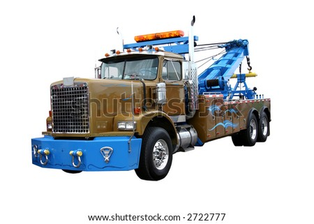 heavy duty wrecker used for towing semi trucks. Isolated on white - stock photo