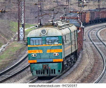 Heavy electric coal train in Ukraine - stock photo