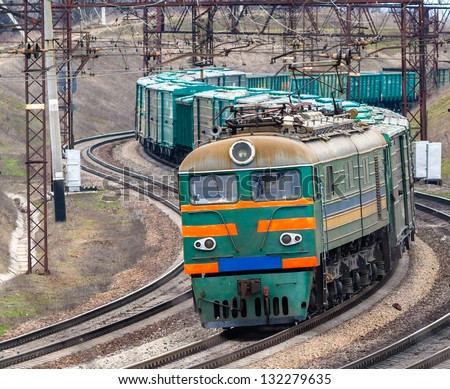 Heavy electric freight train in Ukraine - stock photo