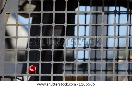 Heavy Equipment Interior Window Cage Detail - stock photo