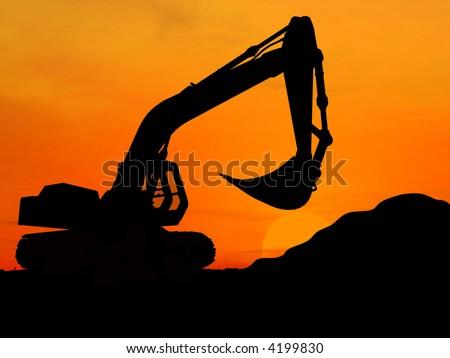 Heavy excavator over orange background 3d - stock photo