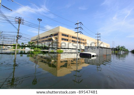 Heavy flooding in Nava nakorn, Prathumthani, Thailand. - stock photo