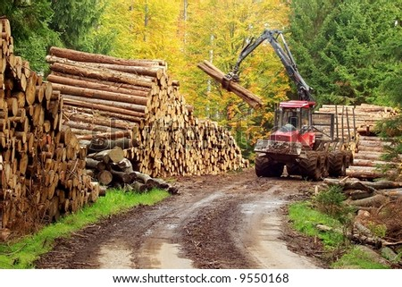 Heavy forest machinery working with logs - stock photo
