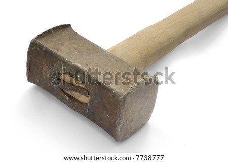 Heavy hammer on white background. (with clipping path) - stock photo