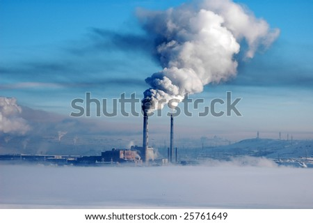 Heavy industrial pollution - stock photo