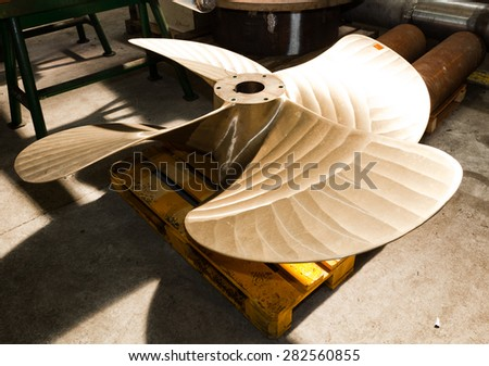 Heavy industrial shipbuilding element in workshop. Industry, naval production. - stock photo