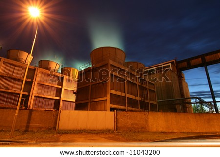 heavy industry coke-oven plant in the night - stock photo