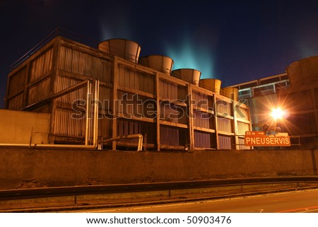 heavy industry coke-oven plant in the night