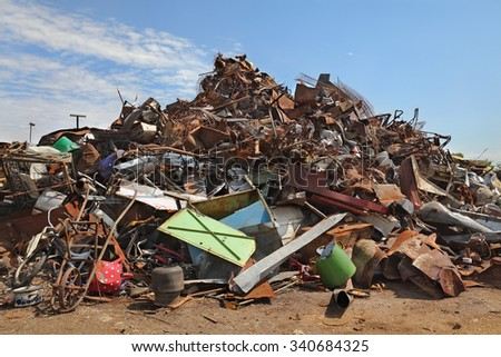 Heavy industry, heap of scrap metal ready for recycling