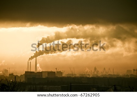 heavy industry in the middle of the city - stock photo