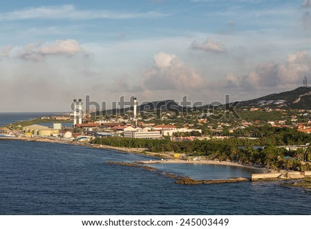 Heavy Industry on the Tropical Island of Aruba - stock photo