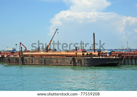Heavy Lifting Crane On A Barge - stock photo