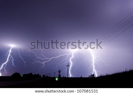 Heavy lightning storm - stock photo