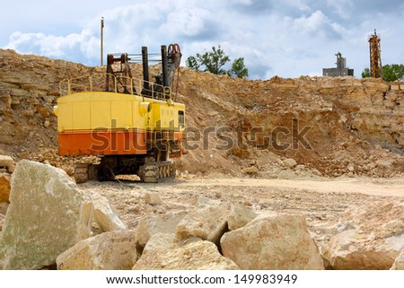 heavy machinery in a limestone quarry