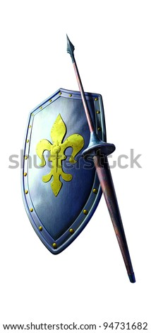 Heavy metal and steel silver grey shield with gold steel ball in white background and Vintage steel brown Lance with white background - stock photo