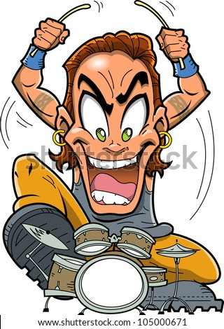 Heavy metal rock drummer is a wild man playing drums - stock photo