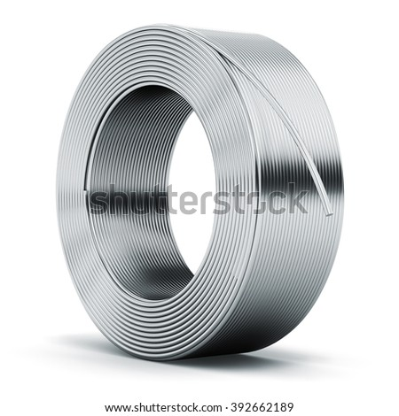 Heavy metallurgical industry and industrial manufacturing business production concept: hunk of shiny metal stainless still, iron or aluminum electrical power wire cable isolated on white background