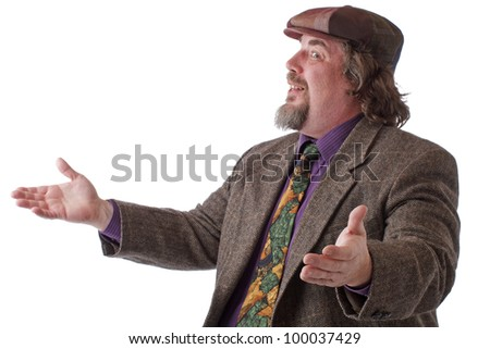 Heavy middle-aged man with goatee, cap and tweed jacket smiles and gestures with palms up. Horizontal, isolated on white, copy space. - stock photo