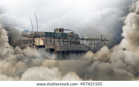 Heavy Military Tank in Desert. 3D Rendering. (Focus on the Tank)