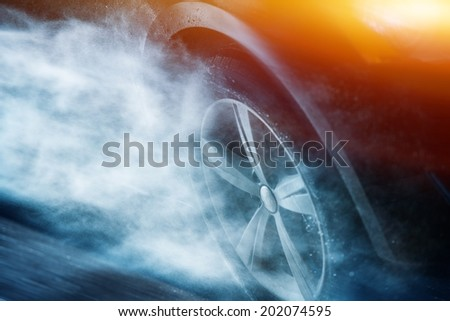 Heavy Rain Driving. Driving Aquaplaning or Hydroplaning Concept. Car Wheel in the Rainstorm.  - stock photo