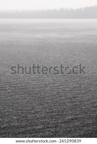 Heavy rain on lake surface - stock photo