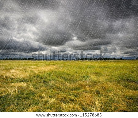 Heavy rain over a prairie in Brittany, France - stock photo