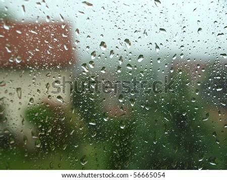 Heavy rain, view from house window - stock photo