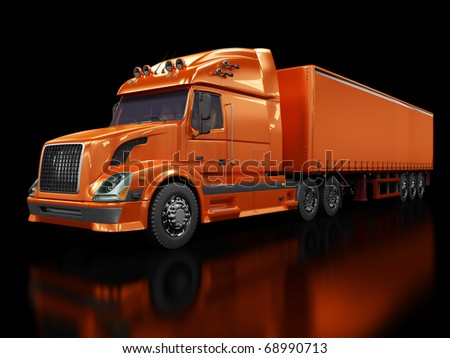 Heavy red truck isolated on black - stock photo