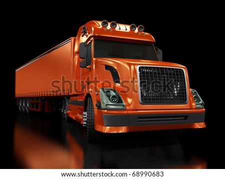 Heavy red truck isolated on black background - stock photo