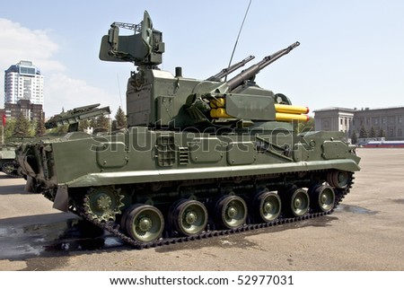 Heavy Russian tank in the city of Samara on the Victory Day parade - stock photo