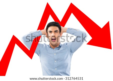 heavy shocked businessman checking data chart - stock photo