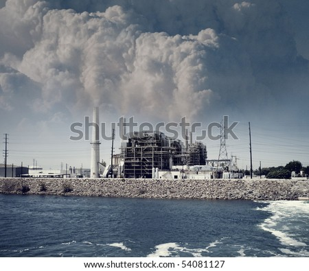 Heavy smog factory - stock photo