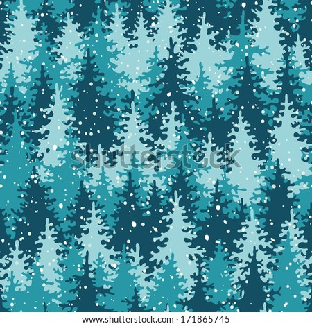 Heavy snow in the pine forest. Seamless pattern. - stock photo