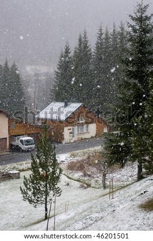 heavy snow in winter - stock photo